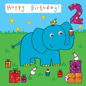 Childrens Birthday Card age 2 Elephant